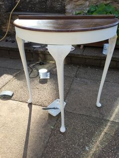 Half Moon Vintage Hallway Table Sanded Down And Painted With Old White Red The
