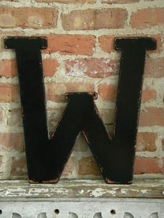 Wooden Letter W 18 Distressed Black by gracegraffiti on Etsy, $35.00