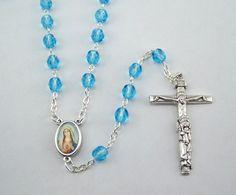 Light Blue Sacred Heart Immaculate Heart Rosary (88) by FaithHopeAndBeads on Etsy