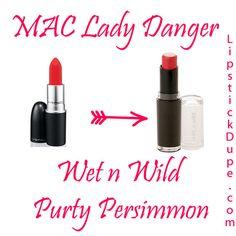 MAC Lady Danger Dupe Mac Lipstick Dupes, Mac Dupes, Drugstore Makeup Dupes, Beauty Dupes, Makeup Swatches, Makeup Cosmetics, Beauty Hacks, Lipsticks, Mac Lady Danger Dupe