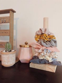 Handmade Pine Wood Scrunchie Holder - Three sizes - My Space - Made to Order Handmade scrunchie holder made by me! Made from pine wood, stand is a 1 dowel cut to 9 - Cute Room Decor, Room Decor Bedroom, Girls Bedroom, Dorm Room, Aesthetic Room Decor, Beauty Room, Room Organization, Bedroom Organisation, Scrunchies