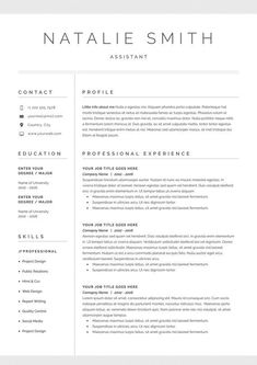 Are you looking for a free cv example? Sign up for our job hunting ideas and download this examples for free. You can easily adjust it in Microsoft Word or Pages. Modern Resume Template, Cv Template, Resume Templates, Templates Free, Basic Resume Examples, Professional Resume Examples, Simple Resume, Administrative Assistant Resume, Le Cv