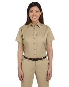 Harriton Ladies' Easy Blend™ Short-Sleeve Twill Shirt with Stain-Release M500SW