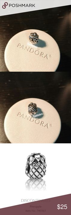 Pineapple charm, Pandora retired RETIRED & RARE!   *HALLMARKED S925 ALE* Item No. 790363 (Discontinued)  Pre loved condition hence the faded hallmarks   I'm selling from my personal collection. All are guaranteed authentic as they've only been bought from a Pandora store or Pandora.net.  I will also polish before shipping. Box not included.   Price firm unless 3+ items bundled/ No holds/ No trades Check out my other listings for more Pandora items and exclusives! Pandora Jewelry Bracelets