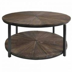 Round Rustic Iron and Fir Wood End Table Coffee Table