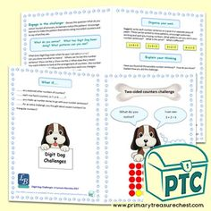 FREE Digit Dog Maths Challenges by Lynwen Barnsley Numeracy Consultant - Primary Treasure Chest Early Years Maths, Early Years Classroom, Teaching Activities, Teaching Tools, Teaching Ideas, Infant Lesson Plans, Math Challenge, Child Teaching, Free Math
