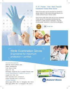 Check out the high quality white nitrile examination powder free gloves at very affordable price.