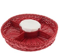 Prepology Round Party Tray with Porcelain Container