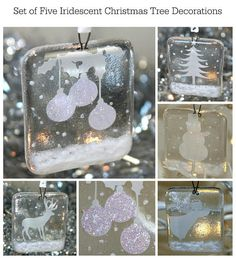 These lovely hanging decorations consist of five designs which feature a white silhouette on a snowy bank, with iridescent glitter detailing. The five designs include an angel, a snowman, a reindeer, a Christmas tree and some baubles. You will not find decorations like these in the shops – each one is completely unique. They measure approx 5cm x 6cm each. They are made of clear glass, and are fused in a kiln. They are very tactile. You can also purchase them individually.