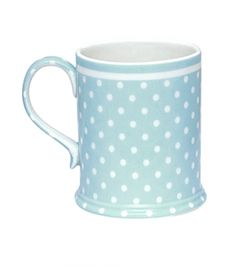 polka blue mug for my morning coffee