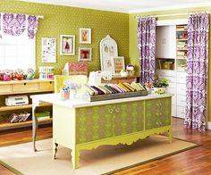 Space Saver  For hardworking rooms like this, every inch has to count. This room shows how to maximize square footage by creating zones for different purposes. Here, a dining room buffet is recast as a multifunctional desk. Originally black, the buffet was treated to fresh green paint, customized wallpaper, and glass hardware to give it a whole new look. home-office