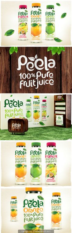 "Very simple yet effective way to show a logo mark (using an ""e"" to represent a fruit). Very cute and fun logo type that works well with the brand and logo mark. They chose to repeat that font throughout the package design to really showcase the idea that they are organic and consistent. However, it doesn't help set apart the brand name. They have a subtle use in color change based on flavor of juice."