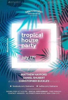 Summer Flyer Templates Free - tropical summer flyer template flyer templates for party Flugblatt Design, Flyer Design, Layout Design, Logo Design, Poster Art, Gig Poster, Club Poster, Summer Poster, Plakat Design