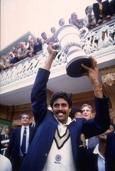 Kapil Dev of India lifts the Cricket World Cup after his team beat the West Indies at Lords in the final
