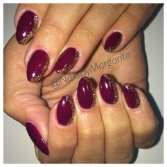 Maroon Color Almond Nails with Glitter Gel Crescent Design Fall 2014 @NailsByMargarita