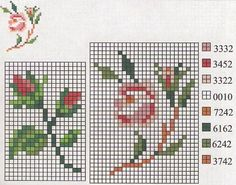 Roses cross stitch pattern, maybe for my paint chip project
