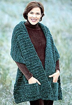 """Free pattern for """"Knit or Crochet Plush Pocket Wrap"""" This looks like this would go faster than the readers wrap!"""