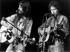George Harrison & Bob Dylan at the Concert For Bangladesh, August 1971.