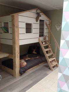 dubbele slaper huisje in steigerhout met luikjes - Bedden / hoogslapers voor kinderen en tieners - WONEN