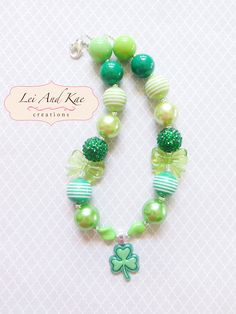 St. Patrick's Day Lucky Clover Chunky Bubble Gum Necklace - Photo Prop Fashion Accessory