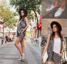 Chic Wish Grey Twin Set, Chic Wish Brogues, H&M Hat, Asos Necklace, Mango Top, Zara Clutch