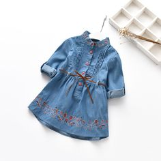 Check current price New Spring Autumn  Girls Denim Dress Embroidery Princess Dress Casual Long Sleeve Kids Jeans Dress Baby Girl Clothes just only $10.41 with free shipping worldwide  #girlsclothing Plese click on picture to see our special price for you