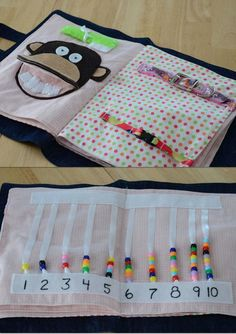 Quiet Book Ideas-- cute! (Especially the counting beads)
