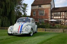 What about the most famous Bug in the world, Herbie? Book your wedding at Albright Hussey Manor Hotel in Shropshire and find out about booking their very own Herbie for a fun way to arrive at your wedding – it's definitely an unusual wedding car! Wedding Car Decorations, Wedding Cars, Wedding Blog, Bridal Car, Wedding Transportation, Living In England, Event Themes, Car Rental, Car Car