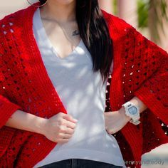 """Keep me warm cocoon cardigan free crochet pattern with video tutorial , this cocoon is make from one simple piece of rectangle. The cocoon cardigan will be one of your favorite item for your wardrobe in the winter or chilling cold day."""