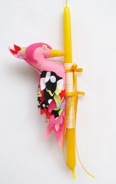 Handmade Pink Woodpecker doll Yellow Easter Candle by mouhoxlab, Felt Diy, Felt Crafts, Easter Crafts, Crafts For Kids, Easter Candle, Greek Easter, Palm Sunday, Project Ideas, Projects