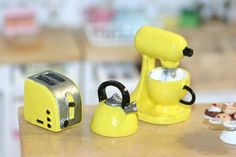 Dollhouse Miniature Kitchen appliances: Mixer, toaster and  kettle, yellow by…