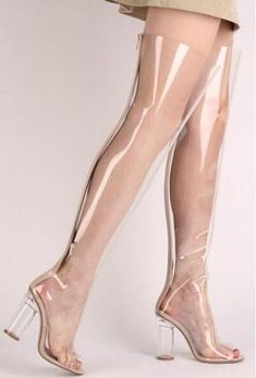 f9353439667 2017 Newest Clear PVC Women Over The Knee Boots Sexy Pointy Toe Transparent  Chunky Heel Ladies Boots Gladiator Thigh High Boots