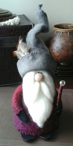 Mohair and Lincoln wool Gnome with Dogwood staff by Craftiepants