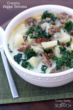 Creamy Zuppa Toscana soup is DELICIOUS and super easy to make homemade. Find the recipe from Tastes Better From Scratch
