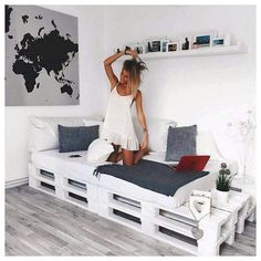 Black + Grey + White + Pallet Daybed: Pallet bed/couch for studio? - Black + Grey + White + Pallet Daybed: Pallet bed/couch for studio? Black + Grey + White + Pallet Daybed: Pallet bed/couch for studio? Decor Room, Diy Home Decor, Bedroom Decor, Bedroom Ideas, Bedroom Furniture, Bedroom Curtains, Headboard Ideas, Wood Headboard, Bedroom Inspiration