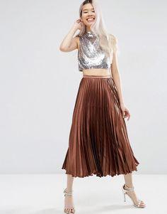 ASOS   ASOS Midi Skirt in Pleated Satin