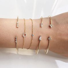 Vale Jewelry Radiant Bangle, Pavé  Open Circle Bracelet, Origins Diamond Bracelet, Tapered White Sapphire Cuff and Open Indigo Bangle