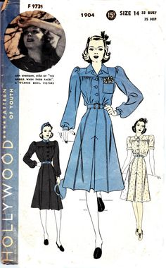 Shirt Dress Pattern Hollywood 1904 Ann Sheridan Vintage Sewing Pattern War Era Costume Sew For Victory Size 14 Bust 32 inches Retro Outfits, Vintage Style Outfits, Vintage Dresses, Star Hollywood, Vintage Hollywood, One Piece Frock, Winter Prom Dresses, Vintage Wedding Favors, Shirt Dress Pattern