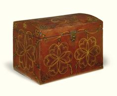 Red and white paint decorated dome-top pine storage box, Compass Artist, Lancaster County, Pennsylvania, circa 1820 | Lot | Sotheby's $62,500