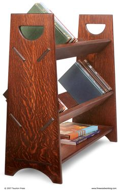 This book rack, with its clean, symmetrical lines, was based on a Gustav Stickley design and modified for modern storage.