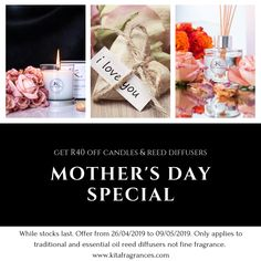 Treat your mom this Mother's Day with something that lasts. R40 OFF! all scented candles and selected reed diffusers while stocks last!