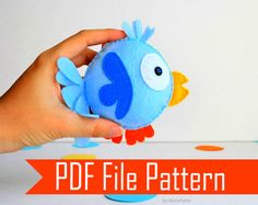 Valentines Day Felt Bird  Sewing pattern - PDF ePATTERN plush pattern - DIY Pattern File  Instant Download A504