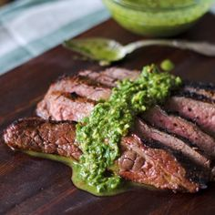 Use up summer's prolific amounts of basil with this Basil Chimichurri- the ulimate addition to flank steak!