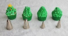 Mini Christmas Tree Cupcakes The first one (on the left) was the tip. The second one (in the middle) was piped with a 101 ruffle tip. I put a fondant cone shape on top of the cupcake then piped the icing using a ruffle style (this tutorial is great). Christmas Cupcakes Decoration, Christmas Tree Cupcakes, Holiday Cupcakes, Mini Christmas Tree, Christmas Deserts, Christmas Goodies, Holiday Desserts, Holiday Treats, Mini Cupcakes