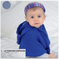 Modèle gratuit poncho capuche layette - FREE knitting pattern baby poncho