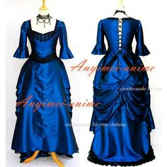 Free Shipping Blue Victorian Rococo Medieval Gown Dress Ball Gothic Punk Cosplay…