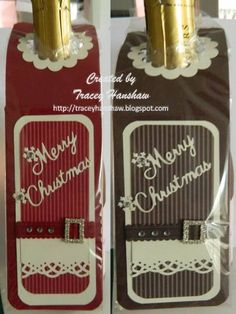 Majority of these lilac box crafts offer a mass of methods to re-use and reinvented this every day product. Wine Bottle Tags, Wine Bottle Covers, Wine Tags, Wine Bottle Crafts, Diy Bottle, Christmas Wine Bottles, Christmas Gift Tags, Handmade Christmas, Wine Gifts