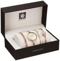 Anne Klein Women's Rose Gold-Tone Bangle Watch and Swarovski Crystal Bracelet Set Fancy Watches, Gold Watches Women, Cute Watches, Elegant Watches, Beautiful Watches, Rose Gold Watches, Stylish Watches For Girls, Trendy Watches, Ladies Bracelet Watch