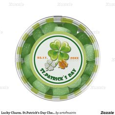 Happy St. Patrick's Day. Ireland Flag Colors Shamrocks Personalized Design Box St.Patrick's Day Gift or Party Favor Chewing Gum. Matching cards, postage stamps and other products available in the Holidays / St. Patrick's Day Category of the artofmairin store at zazzle.com