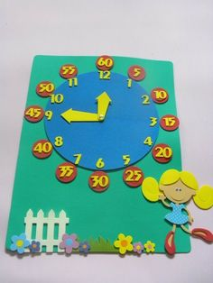 I can make this for when Chris starts learning about time! Math Classroom, Classroom Decor, Felt Crafts, Crafts For Kids, Maths Day, Clock Craft, Teaching Time, Kids Board, Kids Education